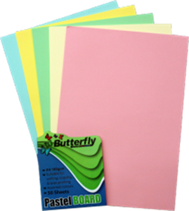 Picture of Butterfly A4 Project Board 50 Sheets Pastel Assorted