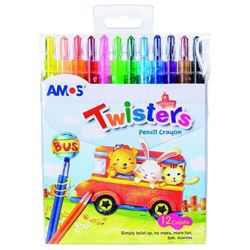 Picture of AMOS Retractable Wax Crayons 12's