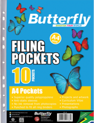 Picture of Butterfly Plastic Filing Pockets 10's