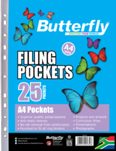 Picture of Butterfly Plastic Filing Pockets 25's