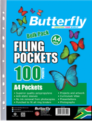 Picture of Butterfly Plastic Filing Pocket Sleeves 100's