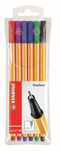 Picture of STABILO Point 88 Fineliner Assorted Wallet 6's