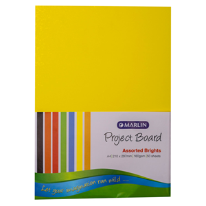 Picture of Marlin A4 Project Board 50 Sheets Bright Assorted