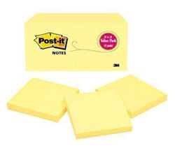 Picture of 3M Post It Notes #654 76x76 Canary Yellow