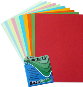Picture of Butterfly A4 Bright Project Board Assorted 50 Sheets