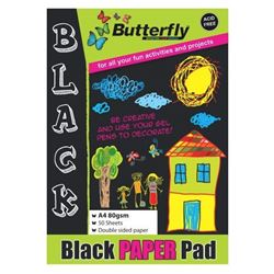 Picture of Butterfly A4 Black Paper Pad 50 Sheets