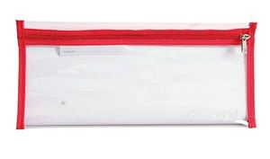 Picture of 4Kids 33cm Clear Exam Pencil Bag with Red Zip