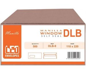Picture of DLB Manilla Window Self Seal Envelopes Box 500