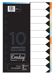 Picture of Croxley A4 Pastel Board 10 Division File Divider Unprinted