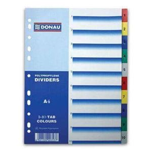 Picture of Donau A4 Polypropylene File Dividers Printed 1 - 5