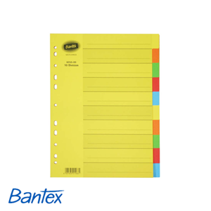 Picture of Bantex A4 Assorted Colours Board 10 Division File Divider Unprinted