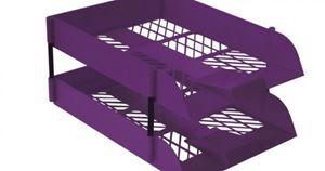 Picture of Treeline Plastic Desk Letter Tray Electric Purple