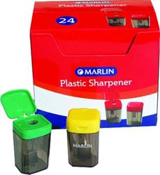 Picture of Marlin Plastic 1 Hole Sharpener with Container Yellow