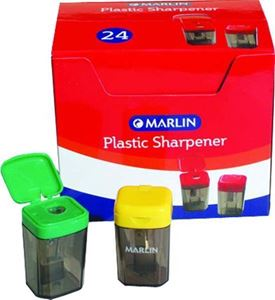 Picture of Marlin Plastic 1 Hole Sharpener with Container Blue